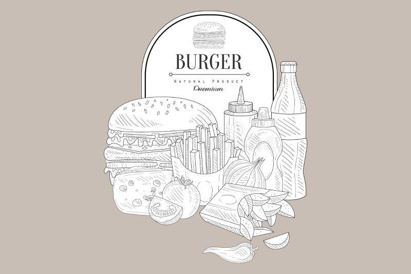 Hamburger, soda, pomidor, ser, układy scaleni, francuzów dłoniaki, butelka ketchup i musztarda, ilustracja wektor