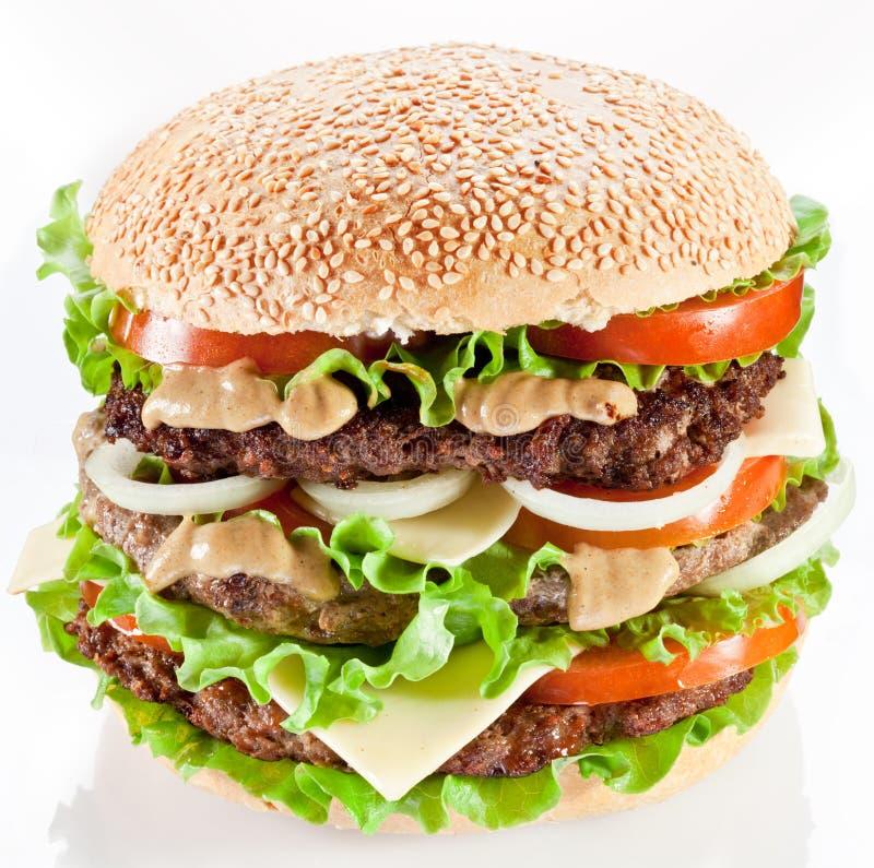Hamburger su bianco fotografia stock