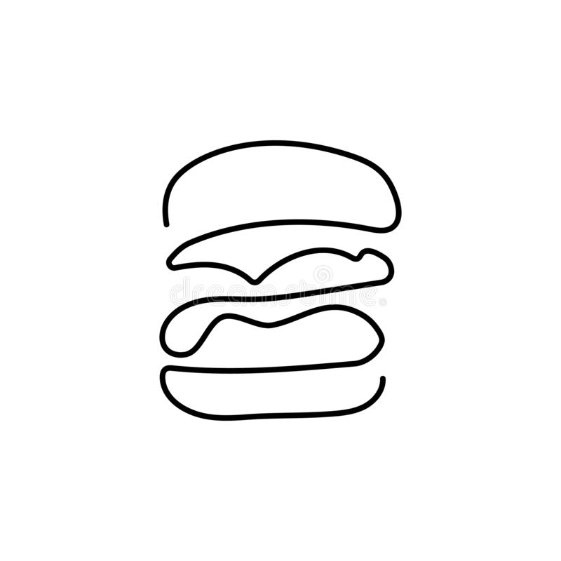 Hamburger tirado em uma linha em um fundo branco Um-linha desenho Linha cont?nua Vetor eps10 ilustração royalty free