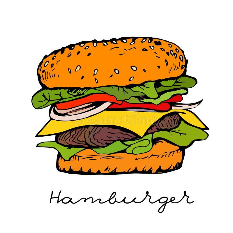 Hamburger tirado mão ilustração stock