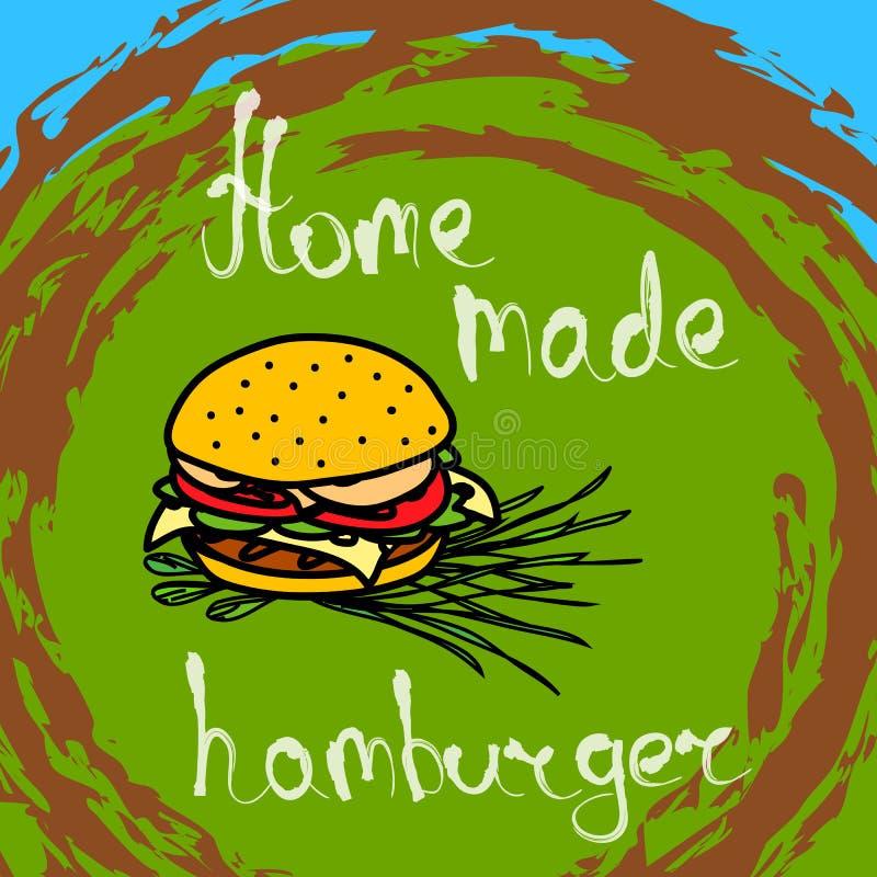 Hamburger tirado mão ilustração do vetor
