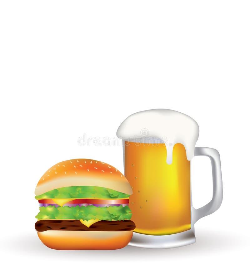 Hamburger und Bier vektor abbildung