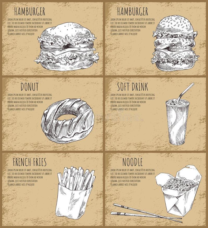 Hamburger-und Donut-Skizzen-Vektor-Illustration stock abbildung
