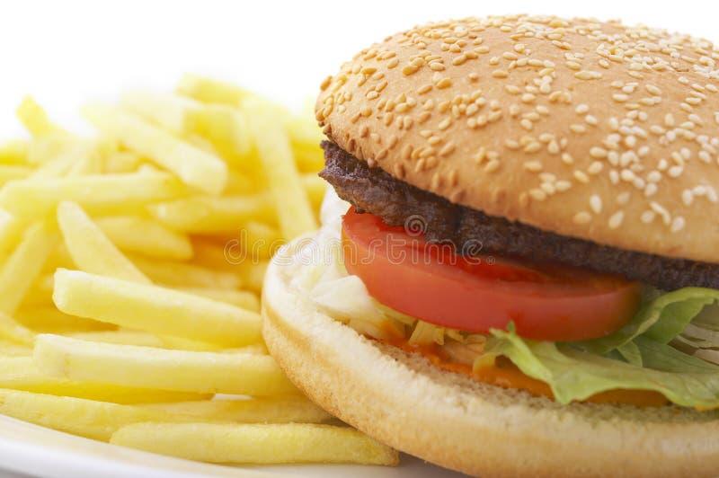 Hamburger und Pommes-Frites lizenzfreies stockfoto