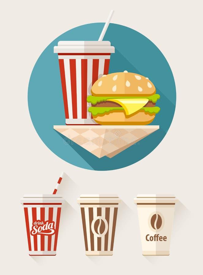 Hamburger und Soda in den Papierschalen lizenzfreie abbildung