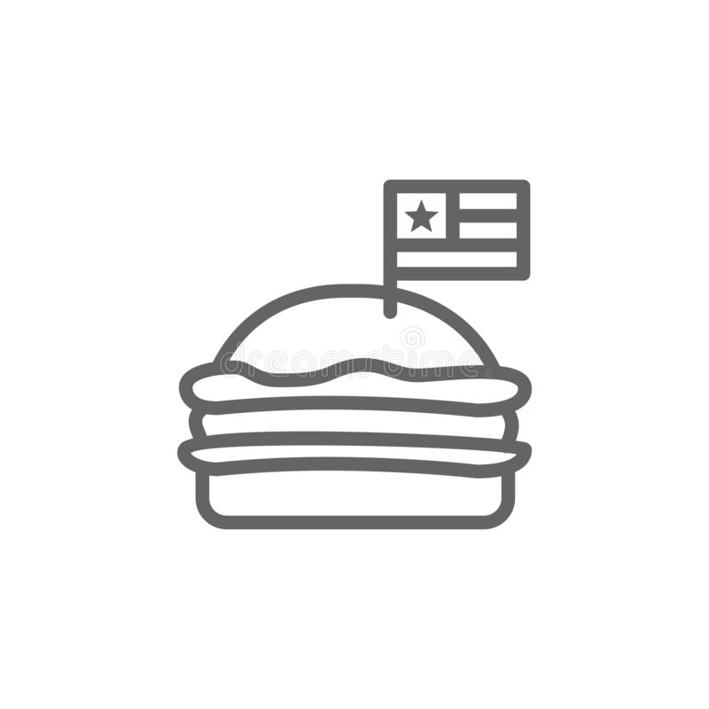 Hamburger, USA icon. Element of 4th of july icon. Thin line icon for website design and development, app development. Premium icon. On white background vector illustration
