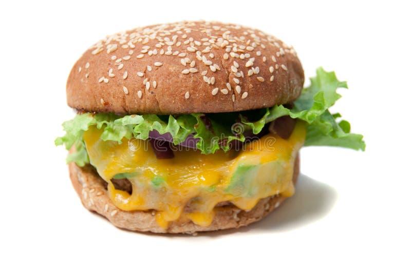 Hamburger végétarien avec du fromage fondu image libre de droits