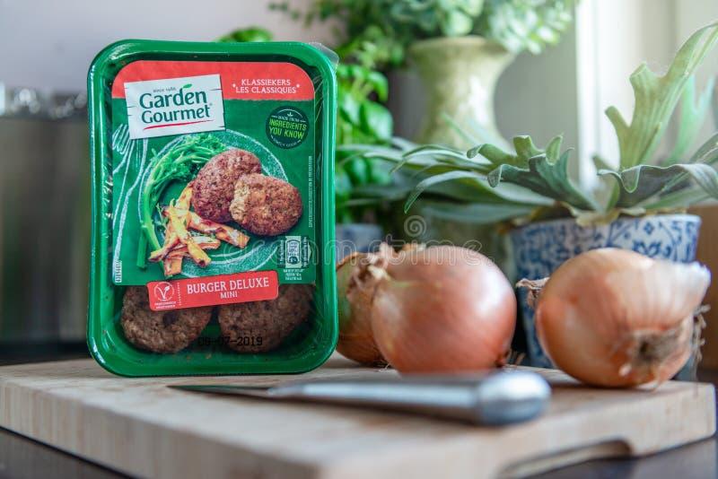 Hamburger vegetariano gastronomico del giardino di lusso fotografia stock