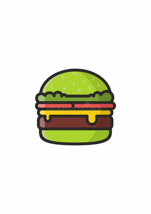 Hamburger verde do abacate ilustração stock