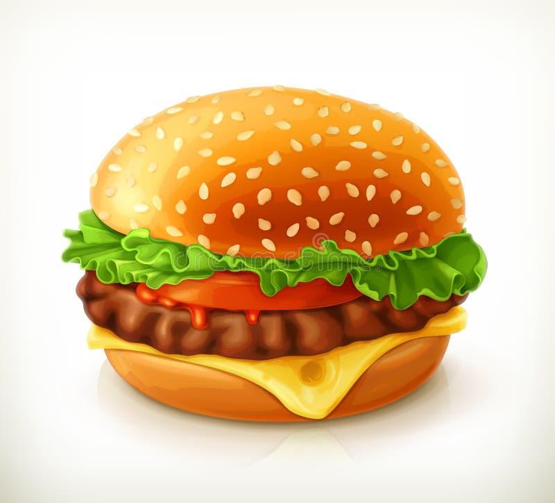 Hamburger, wektorowa ikona ilustracji