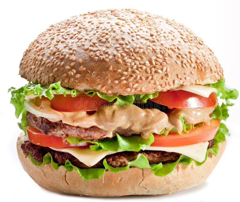 Download Hamburger on white stock photo. Image of cheese, tomato - 18703660
