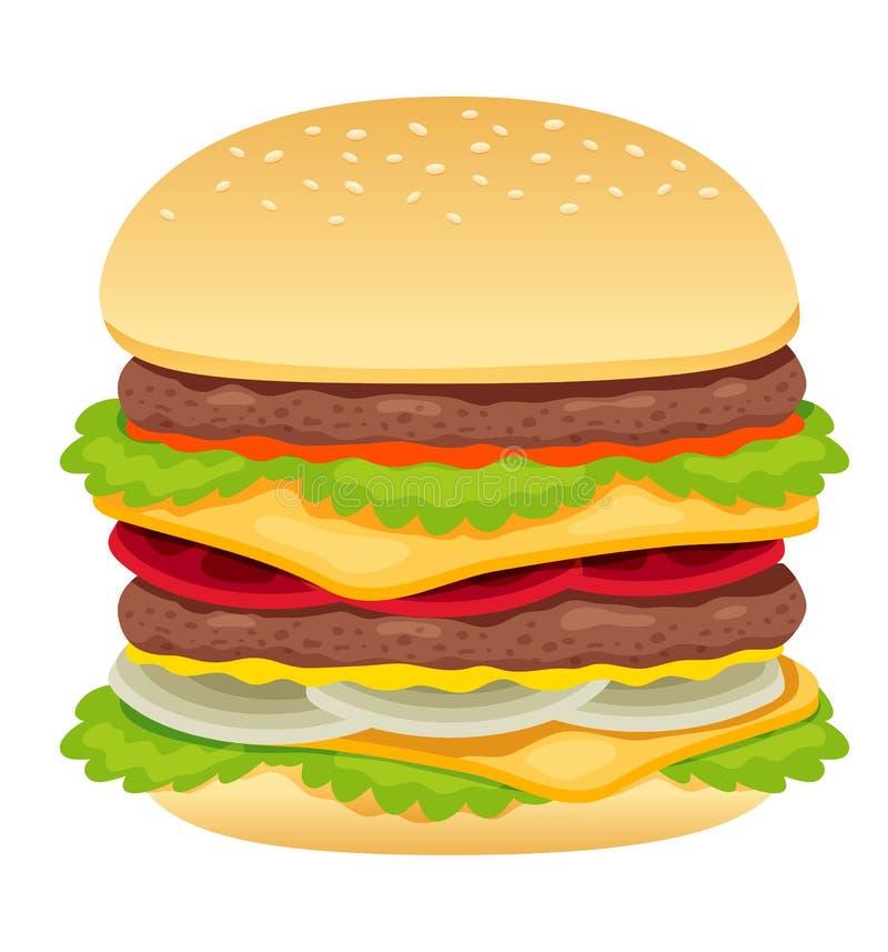 Hamburger on white royalty free illustration