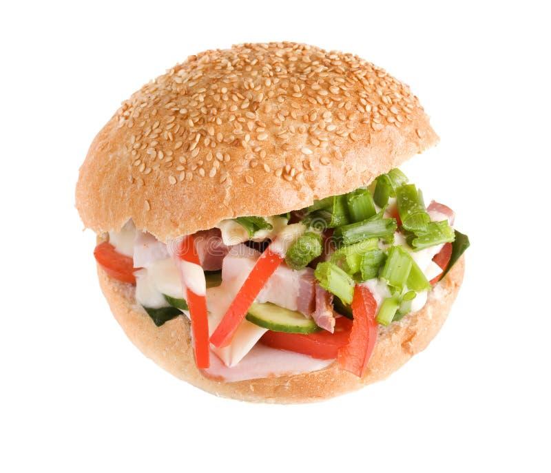 Hamburger Whitspeck und -gemüse stockfotos