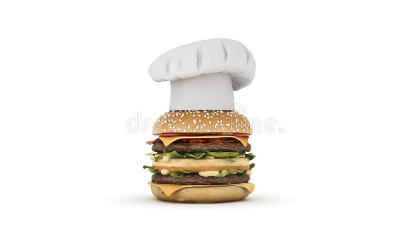Hamburger z kapeluszowym szefem kuchni royalty ilustracja