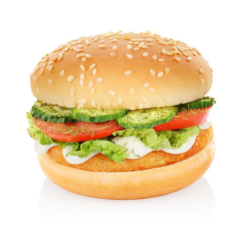 Hamburger z kurczakiem odizolowywającym zdjęcia stock