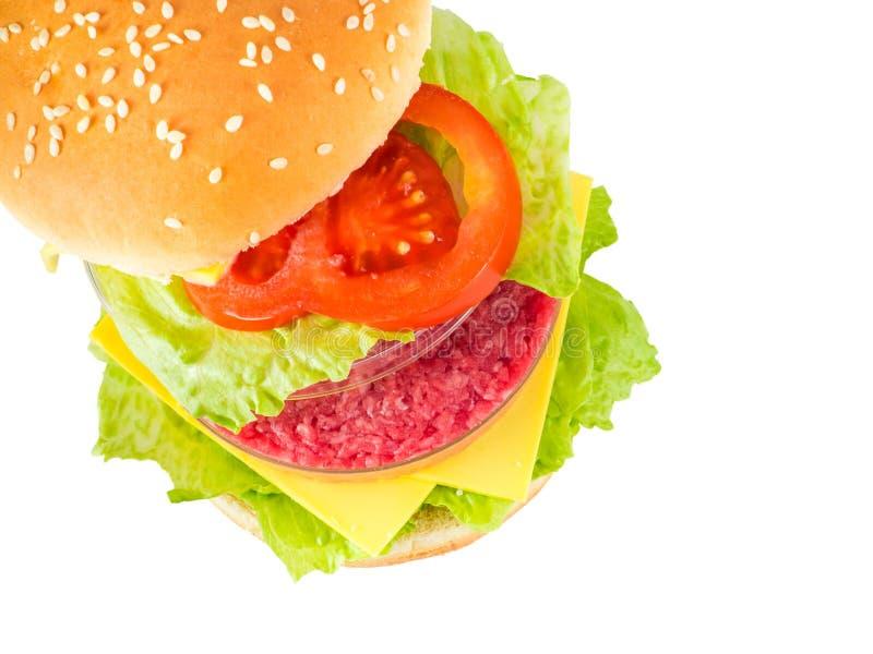 Hamburger z mięsem w Petri naczyniu reprezentuje Vitro mięso zdjęcie royalty free