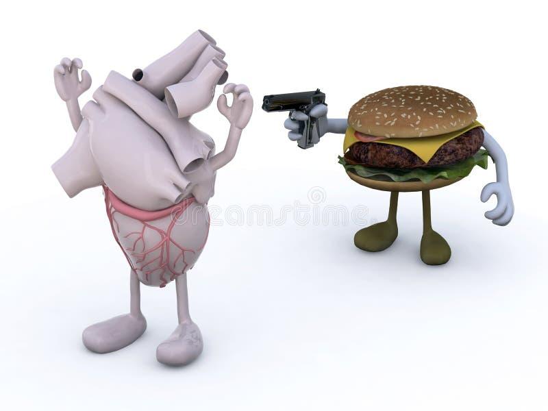 Hamburger z rękami włada pistolet ludzki serce ilustracja wektor