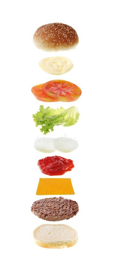 Hamburgerbestandteile getrennt stockfoto