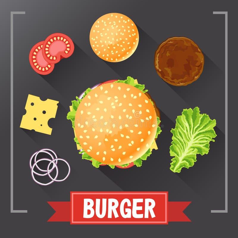 Hamburgeringrediënten Hamburgerdelen op bord Hamburger met ondertekende ingrediënten Vastgestelde voedselhamburger Origineel hamb vector illustratie