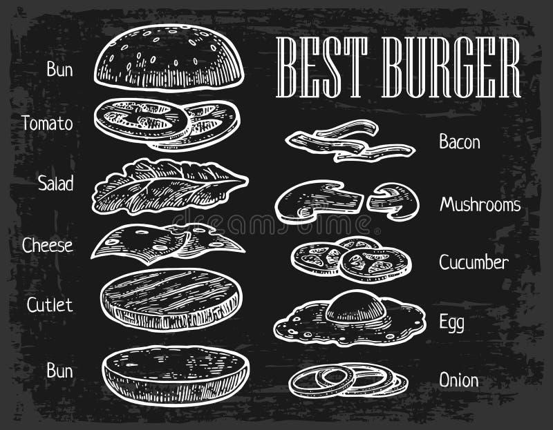 Hamburgeringrediënten op Bord geschilderde componenten vector illustratie