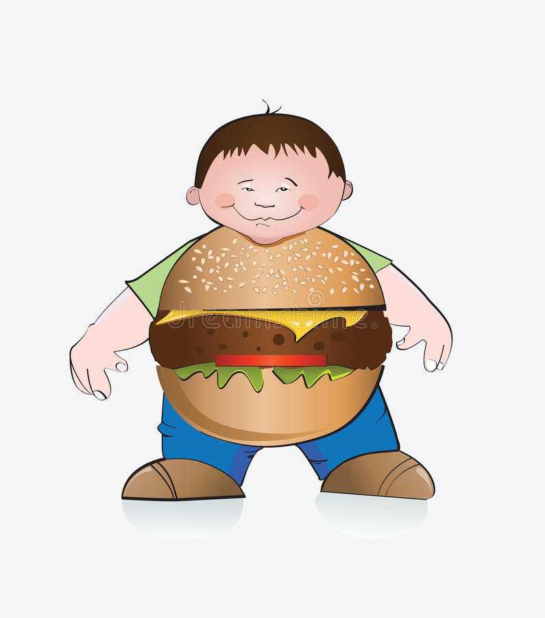 Hamburgerjongen. vector illustratie