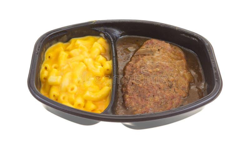Hamburgermahlzeit mit Makkaroni mit Käse Fertiggericht lizenzfreie stockbilder
