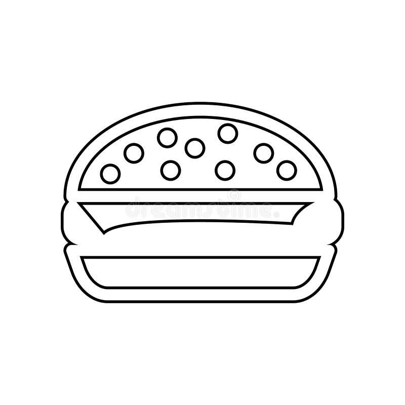 Hamburgerpictogram Element van het eten voor mobiel concept en webtoepassingenpictogram Overzicht, dun lijnpictogram voor website vector illustratie