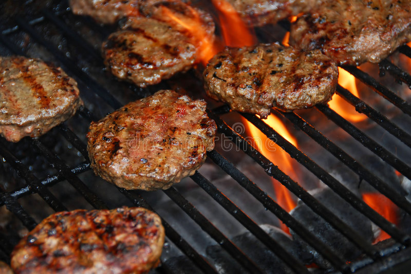 Download Hamburgers on barbeque stock photo. Image of food, flames - 886556