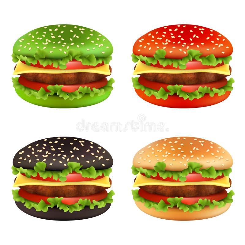 Hamburgers colorés Le pain de cheeseburger de noir d'aliments de préparation rapide de différentes couleurs et de la tomate de bo illustration stock