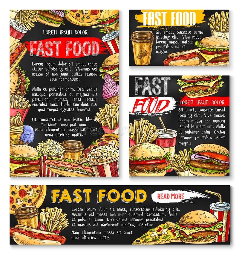 Hamburgers de prêt-à-manger d'affiches de croquis de vecteur d'aliments de préparation rapide illustration stock