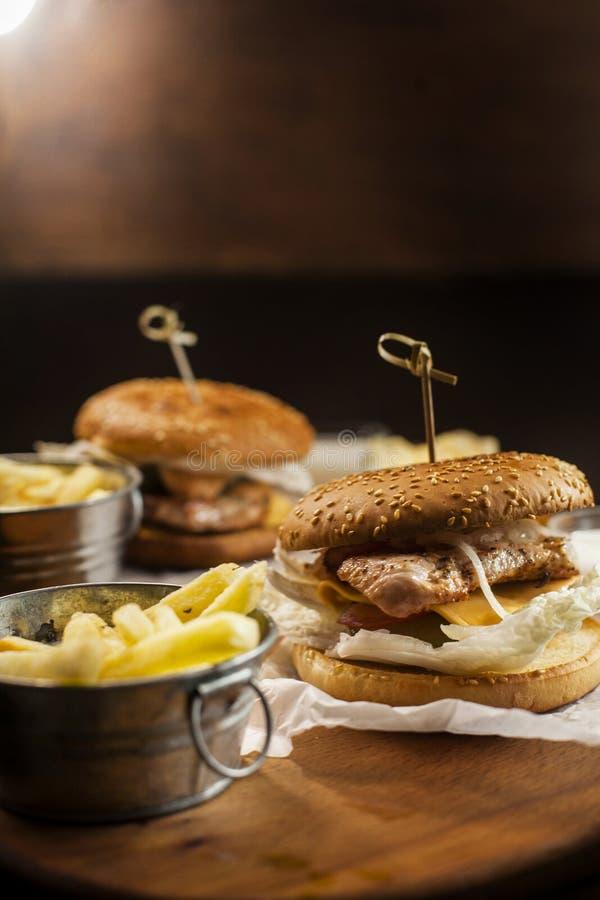 Hamburgers et fritures images libres de droits