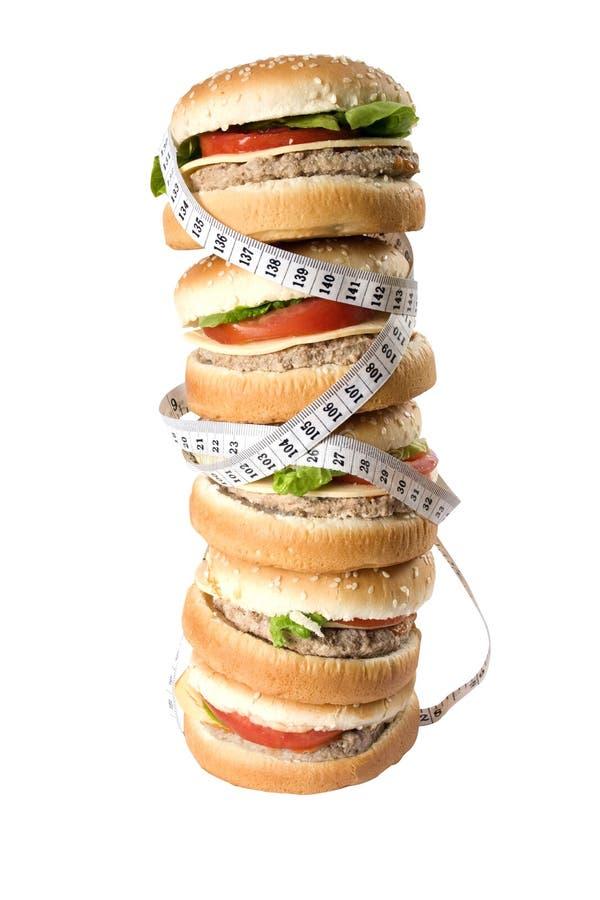 Hamburgerstapel getrennt stockbild