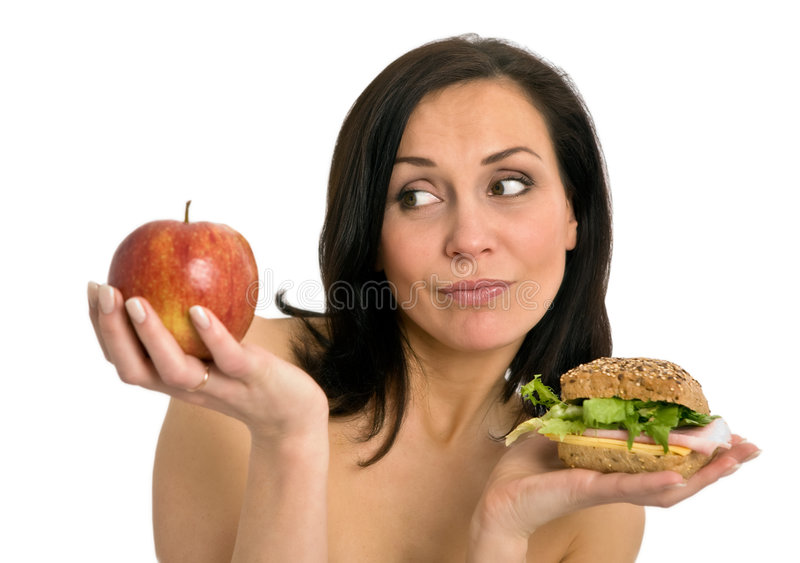 hamburgeru łasowania kobieta fotografia royalty free