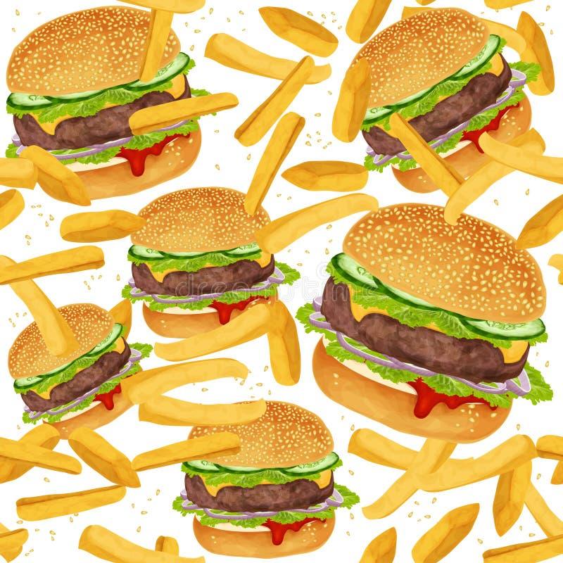 Hamburgeru bezszwowy wzór royalty ilustracja