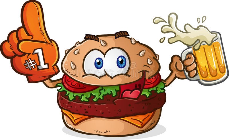Hamburgeru Cheeseburger sportów fan postać z kreskówki ilustracja wektor