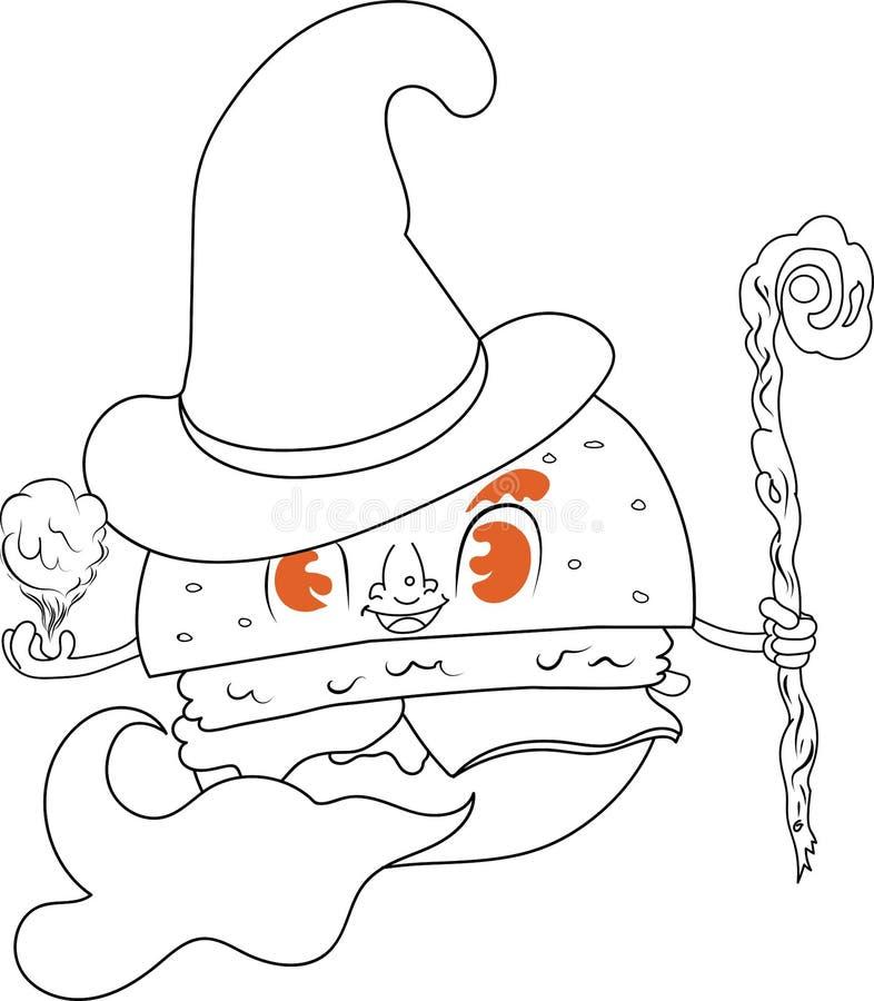 Hamburgeru czarownik royalty ilustracja