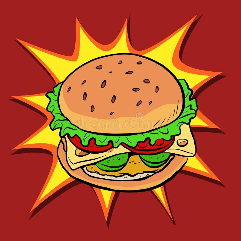 Hamburgeru fasta food wystrzału retro sztuka ilustracji
