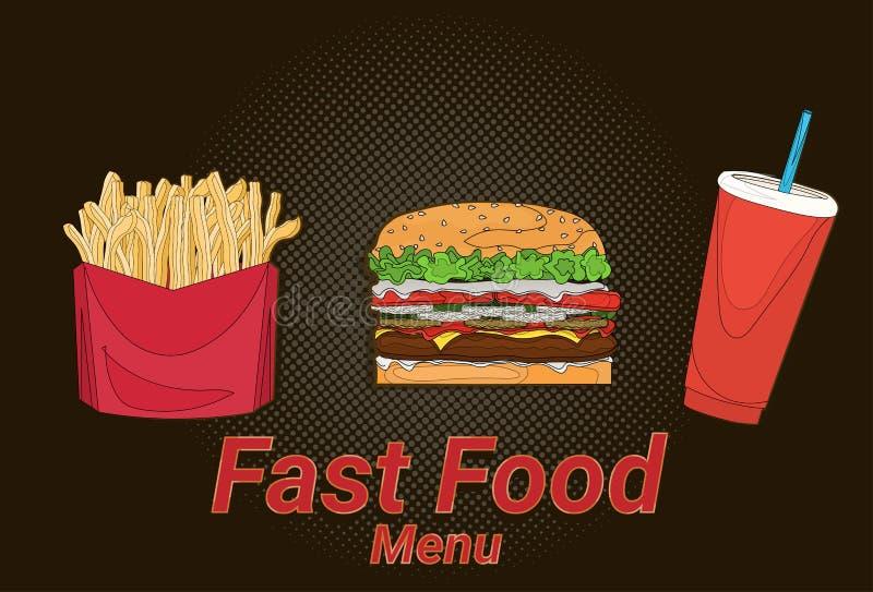 Hamburgeru francuz smaży kola ulicznego festiwal, fasta food menu czerni tła kulinarny inkasowy pojęcie ilustracji