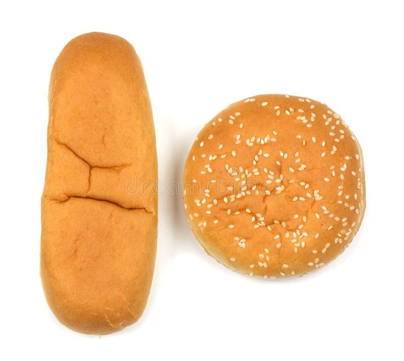Hamburgeru hot dog na białym tle i rolki zdjęcia stock