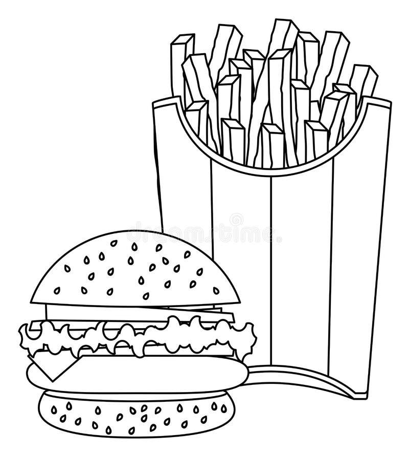 Hamburgeru i francuza dłoniaków rysować royalty ilustracja