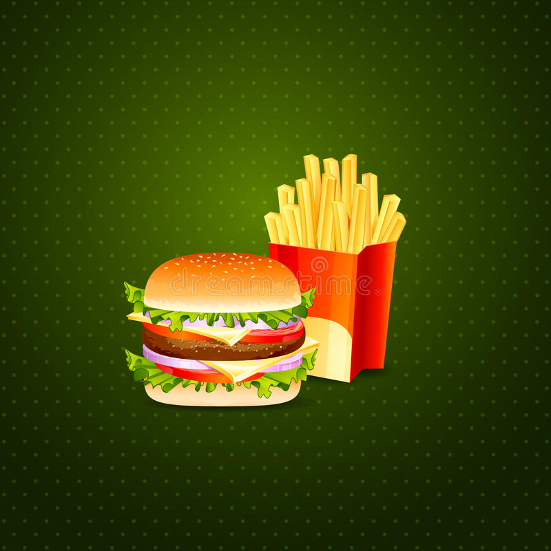 Hamburgeru i francuza dłoniaki royalty ilustracja
