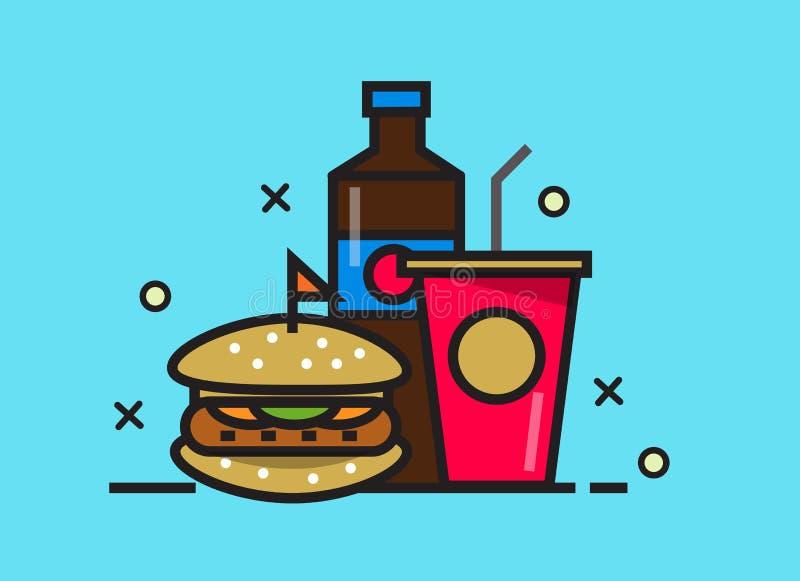 Hamburgeru i koli napój Fasta Food posiłek Mieszkanie linii projekta elementy ilustracji