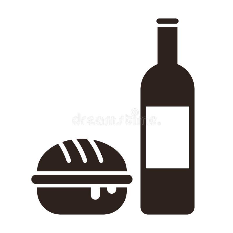 Hamburgeru i wina butelka ilustracji