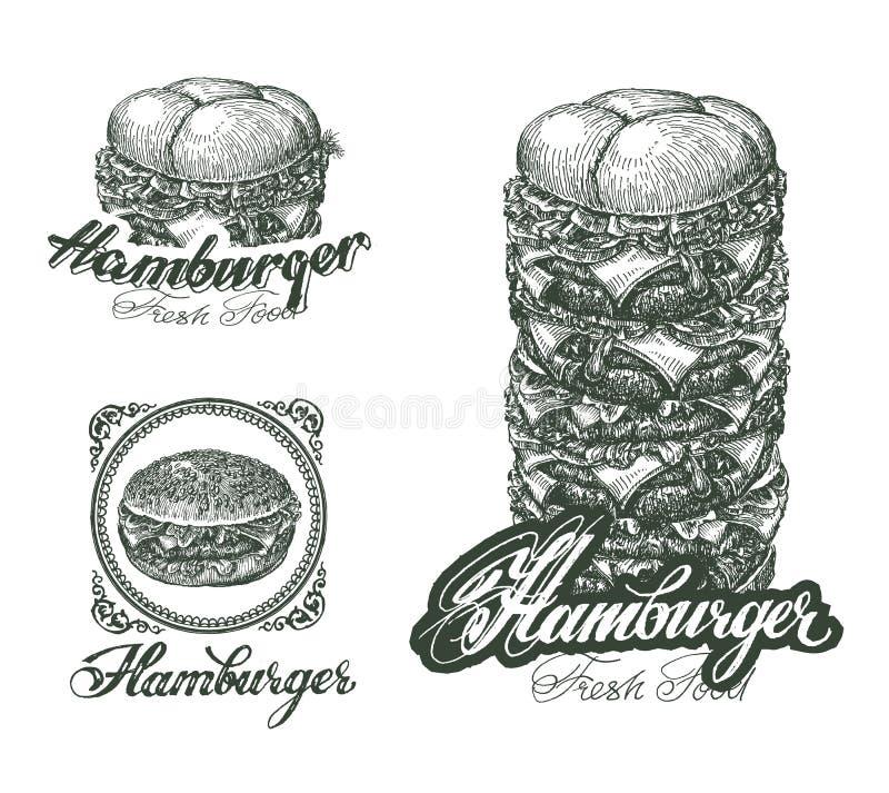 Hamburgeru ikony, etykietki, znaki, symbole i projekt, ilustracji