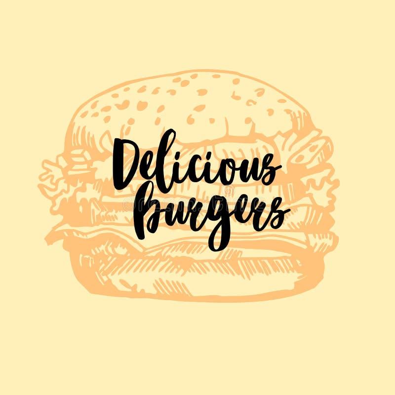 Hamburgeru ison Fasta food emblemat projekt retro ilustracja wektor
