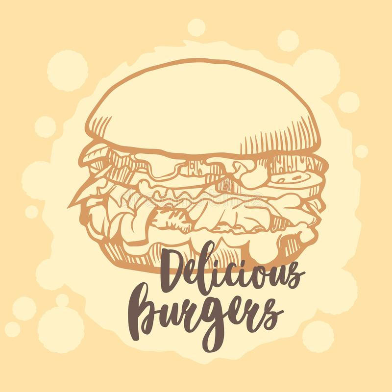Hamburgeru ison Fasta food emblemat projekt retro royalty ilustracja