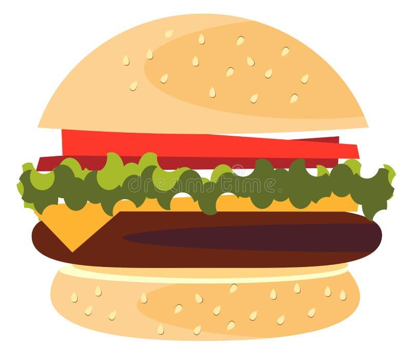 Hamburgeru Klasycznego hamburgeru Amerykański Cheeseburger z sałata kumberlandu i wołowiny Pomidorowy Cebulkowy Serowy Zamkniętym ilustracji