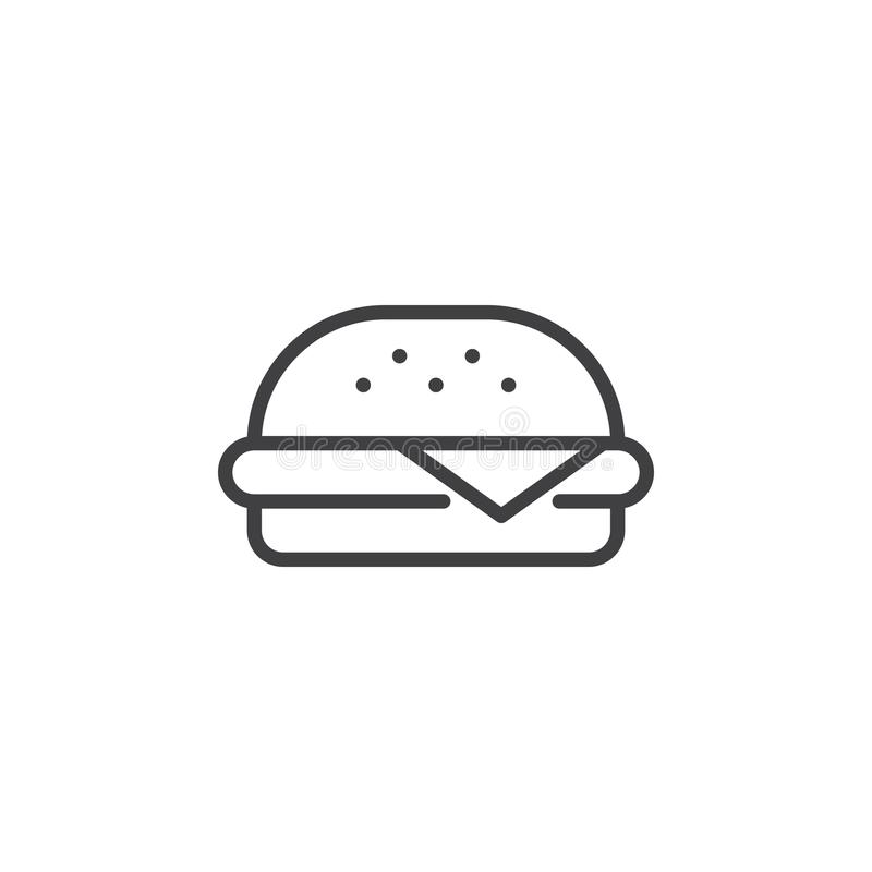 Hamburgeru konturu ikona royalty ilustracja