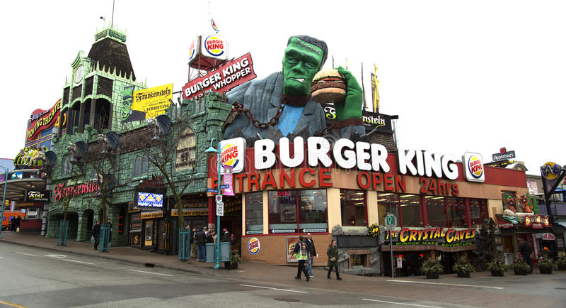 Hamburgeru królewiątka fast food w Niagara spadkach obrazy royalty free