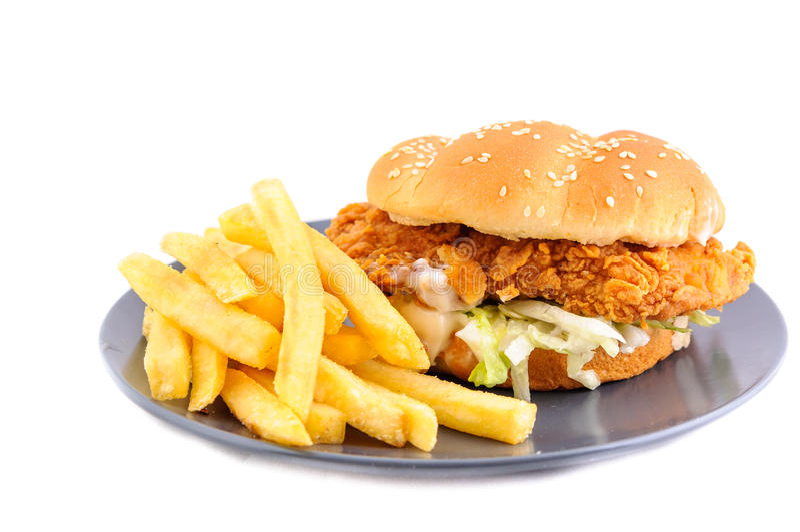 hamburgeru kurczaka fastfood gorący smakowity fotografia stock
